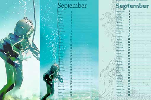 illustration and two calendar sheets