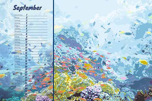 coral reef illustration and calendar sample sheet